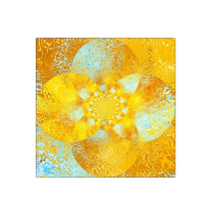 Gold Blue Abstract Blossom Satin Bandana Scarf