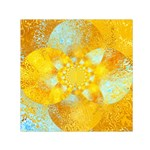 Gold Blue Abstract Blossom Small Satin Scarf (Square) Front