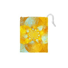 Gold Blue Abstract Blossom Drawstring Pouches (xs)  by designworld65