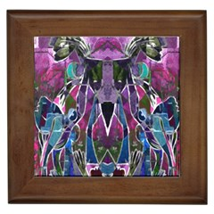 Sly Dog Modern Grunge Style Blue Pink Violet Framed Tiles by EDDArt