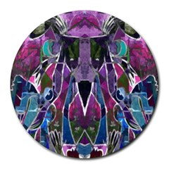 Sly Dog Modern Grunge Style Blue Pink Violet Round Mousepads by EDDArt
