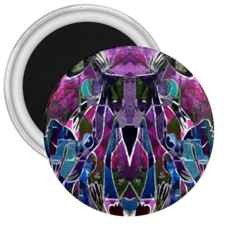 Sly Dog Modern Grunge Style Blue Pink Violet 3  Magnets