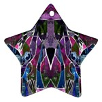 Sly Dog Modern Grunge Style Blue Pink Violet Ornament (Star)  Front
