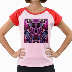 Sly Dog Modern Grunge Style Blue Pink Violet Women s Cap Sleeve T Shirt
