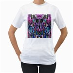 Sly Dog Modern Grunge Style Blue Pink Violet Women s T-Shirt (White) (Two Sided)