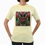 Sly Dog Modern Grunge Style Blue Pink Violet Women s Yellow T-Shirt