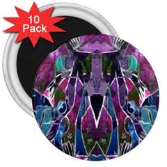 Sly Dog Modern Grunge Style Blue Pink Violet 3  Magnets (10 Pack)
