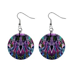 Sly Dog Modern Grunge Style Blue Pink Violet Mini Button Earrings by EDDArt