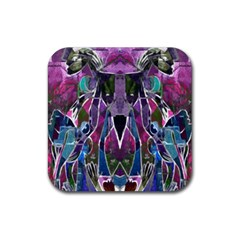 Sly Dog Modern Grunge Style Blue Pink Violet Rubber Square Coaster (4 Pack)  by EDDArt