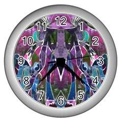 Sly Dog Modern Grunge Style Blue Pink Violet Wall Clocks (silver)  by EDDArt