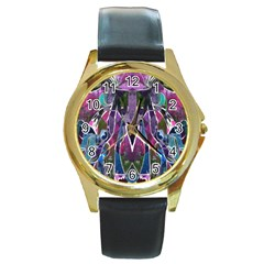 Sly Dog Modern Grunge Style Blue Pink Violet Round Gold Metal Watch