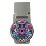 Sly Dog Modern Grunge Style Blue Pink Violet Money Clips (Round)  Front