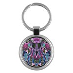 Sly Dog Modern Grunge Style Blue Pink Violet Key Chains (Round)  Front