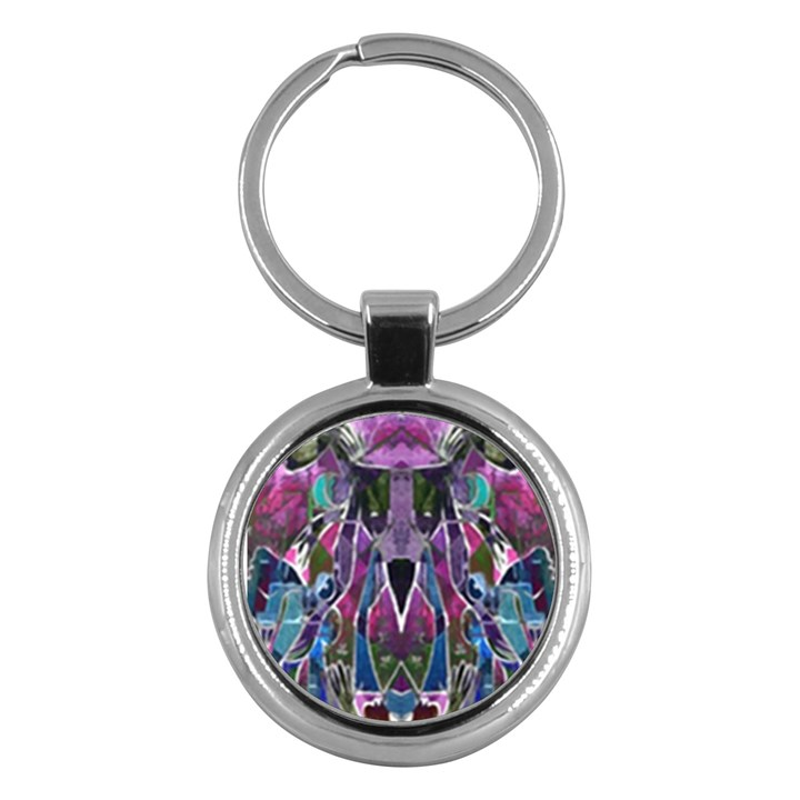Sly Dog Modern Grunge Style Blue Pink Violet Key Chains (Round)