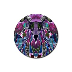 Sly Dog Modern Grunge Style Blue Pink Violet Rubber Round Coaster (4 Pack)  by EDDArt