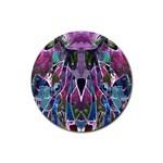 Sly Dog Modern Grunge Style Blue Pink Violet Rubber Round Coaster (4 pack)