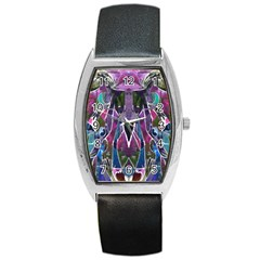 Sly Dog Modern Grunge Style Blue Pink Violet Barrel Style Metal Watch by EDDArt