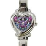 Sly Dog Modern Grunge Style Blue Pink Violet Heart Italian Charm Watch