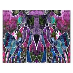 Sly Dog Modern Grunge Style Blue Pink Violet Rectangular Jigsaw Puzzl by EDDArt