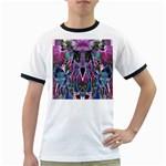 Sly Dog Modern Grunge Style Blue Pink Violet Ringer T-Shirts Front