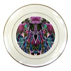 Sly Dog Modern Grunge Style Blue Pink Violet Porcelain Plates by EDDArt