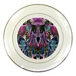 Sly Dog Modern Grunge Style Blue Pink Violet Porcelain Plates
