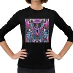 Sly Dog Modern Grunge Style Blue Pink Violet Women s Long Sleeve Dark T-Shirts Front