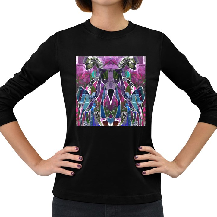 Sly Dog Modern Grunge Style Blue Pink Violet Women s Long Sleeve Dark T-Shirts