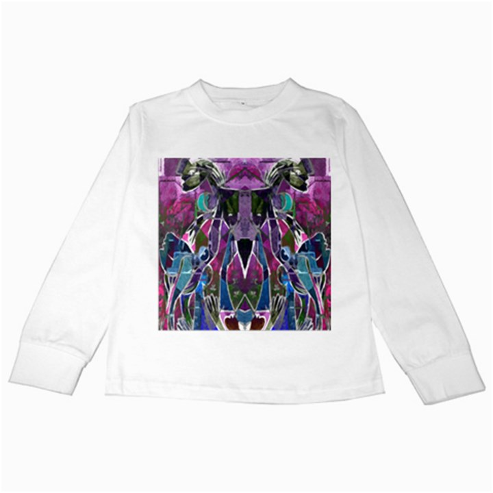 Sly Dog Modern Grunge Style Blue Pink Violet Kids Long Sleeve T-Shirts