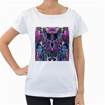 Sly Dog Modern Grunge Style Blue Pink Violet Women s Loose-Fit T-Shirt (White)