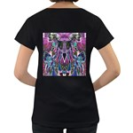 Sly Dog Modern Grunge Style Blue Pink Violet Women s Loose-Fit T-Shirt (Black) Back