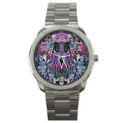 Sly Dog Modern Grunge Style Blue Pink Violet Sport Metal Watch by EDDArt