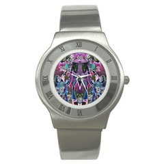 Sly Dog Modern Grunge Style Blue Pink Violet Stainless Steel Watch by EDDArt