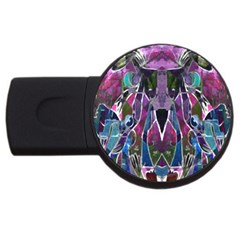 Sly Dog Modern Grunge Style Blue Pink Violet Usb Flash Drive Round (4 Gb)  by EDDArt