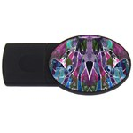 Sly Dog Modern Grunge Style Blue Pink Violet USB Flash Drive Oval (4 GB)  Front