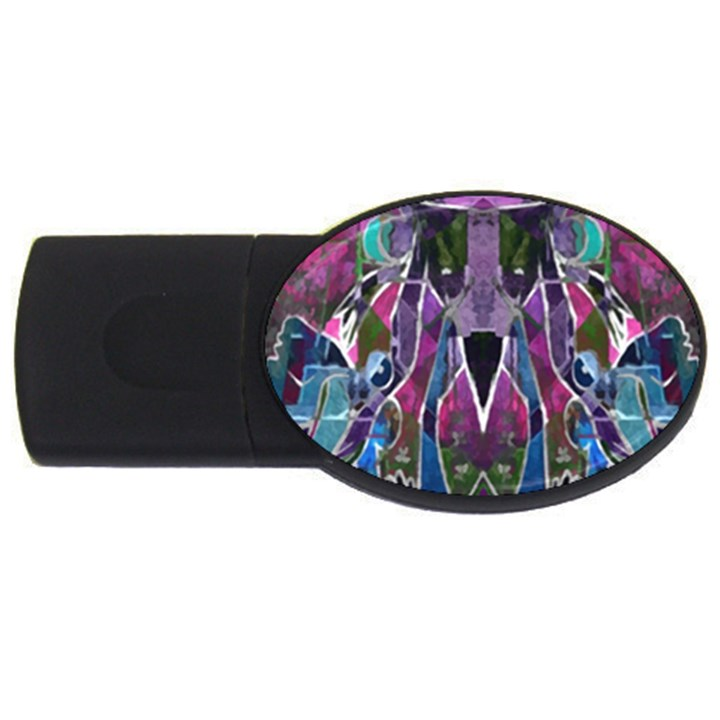 Sly Dog Modern Grunge Style Blue Pink Violet USB Flash Drive Oval (4 GB)