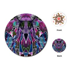 Sly Dog Modern Grunge Style Blue Pink Violet Playing Cards (round)  by EDDArt