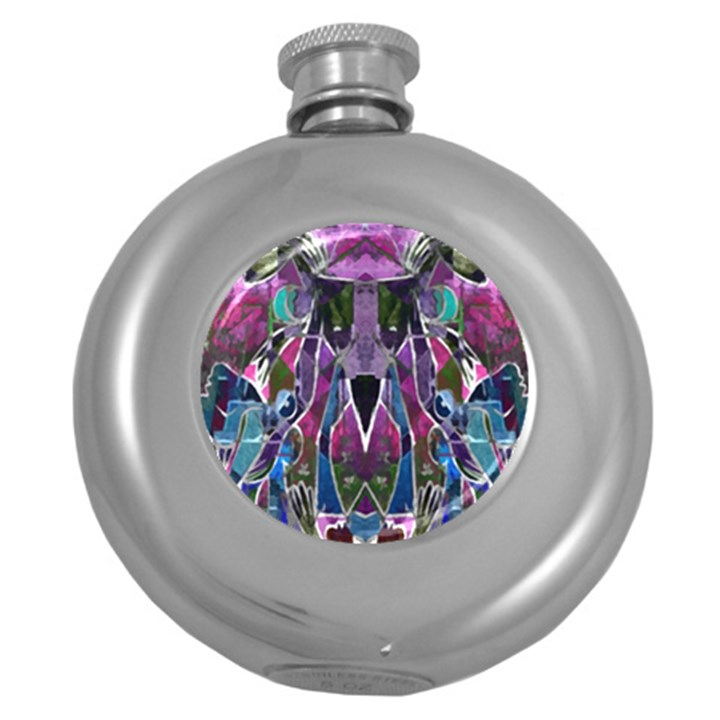 Sly Dog Modern Grunge Style Blue Pink Violet Round Hip Flask (5 oz)