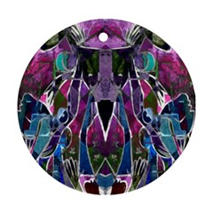 Sly Dog Modern Grunge Style Blue Pink Violet Round Ornament (two Sides)  by EDDArt