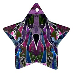 Sly Dog Modern Grunge Style Blue Pink Violet Star Ornament (two Sides)  by EDDArt