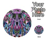 Sly Dog Modern Grunge Style Blue Pink Violet Playing Cards 54 (Round)  Front - Club2