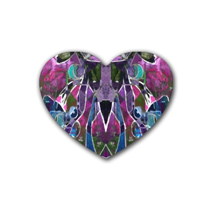 Sly Dog Modern Grunge Style Blue Pink Violet Heart Coaster (4 pack)