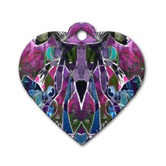 Sly Dog Modern Grunge Style Blue Pink Violet Dog Tag Heart (two Sides) by EDDArt
