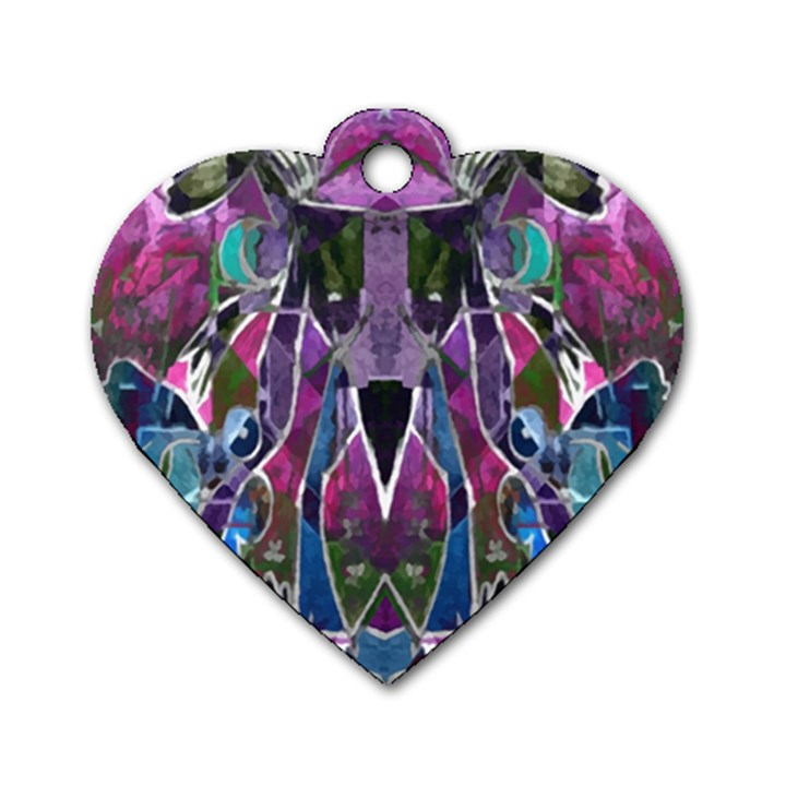 Sly Dog Modern Grunge Style Blue Pink Violet Dog Tag Heart (Two Sides)