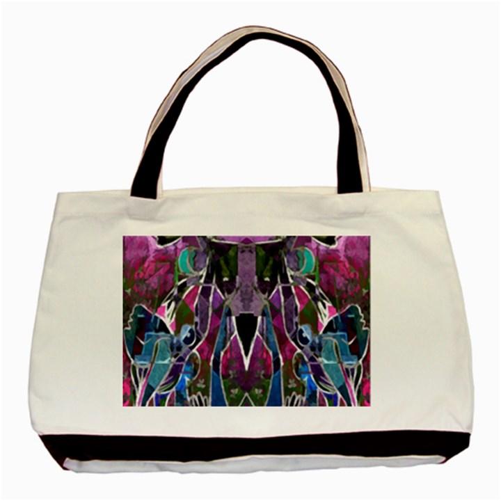 Sly Dog Modern Grunge Style Blue Pink Violet Basic Tote Bag (Two Sides)