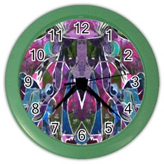 Sly Dog Modern Grunge Style Blue Pink Violet Color Wall Clocks