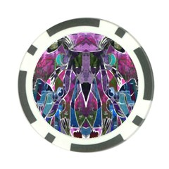 Sly Dog Modern Grunge Style Blue Pink Violet Poker Chip Card Guards by EDDArt