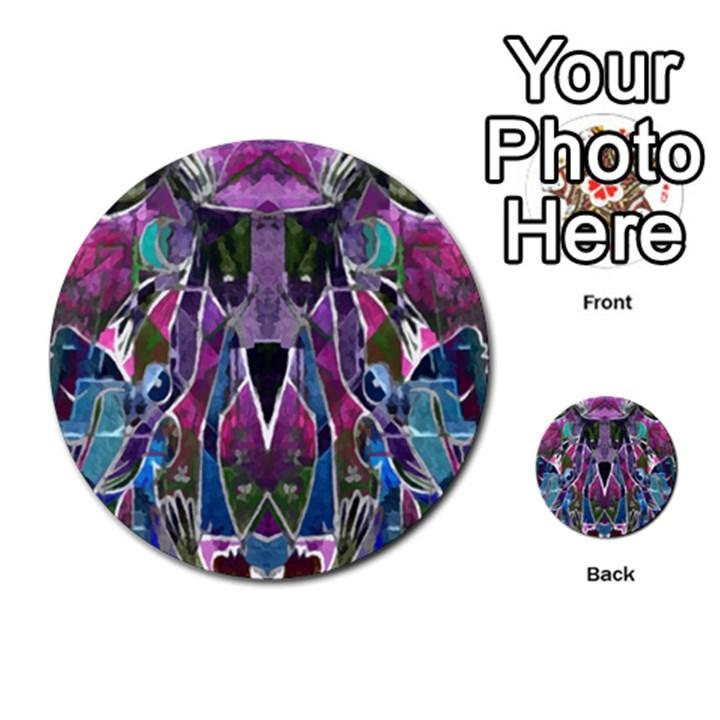 Sly Dog Modern Grunge Style Blue Pink Violet Multi-purpose Cards (Round)