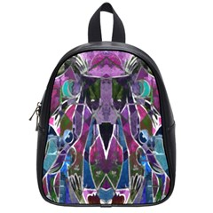 Sly Dog Modern Grunge Style Blue Pink Violet School Bags (small)  by EDDArt