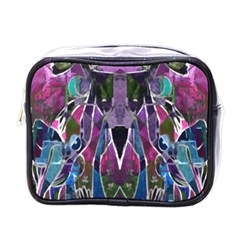 Sly Dog Modern Grunge Style Blue Pink Violet Mini Toiletries Bags by EDDArt